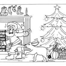 Coloriage du Père-Noël attaqué par un chien