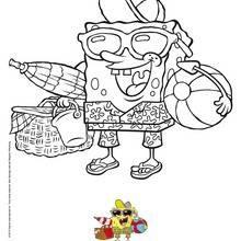 Coloriage Bob l'éponge : Bob l'éponge à la plage