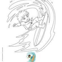 Coloriage : Diego fait du surf
