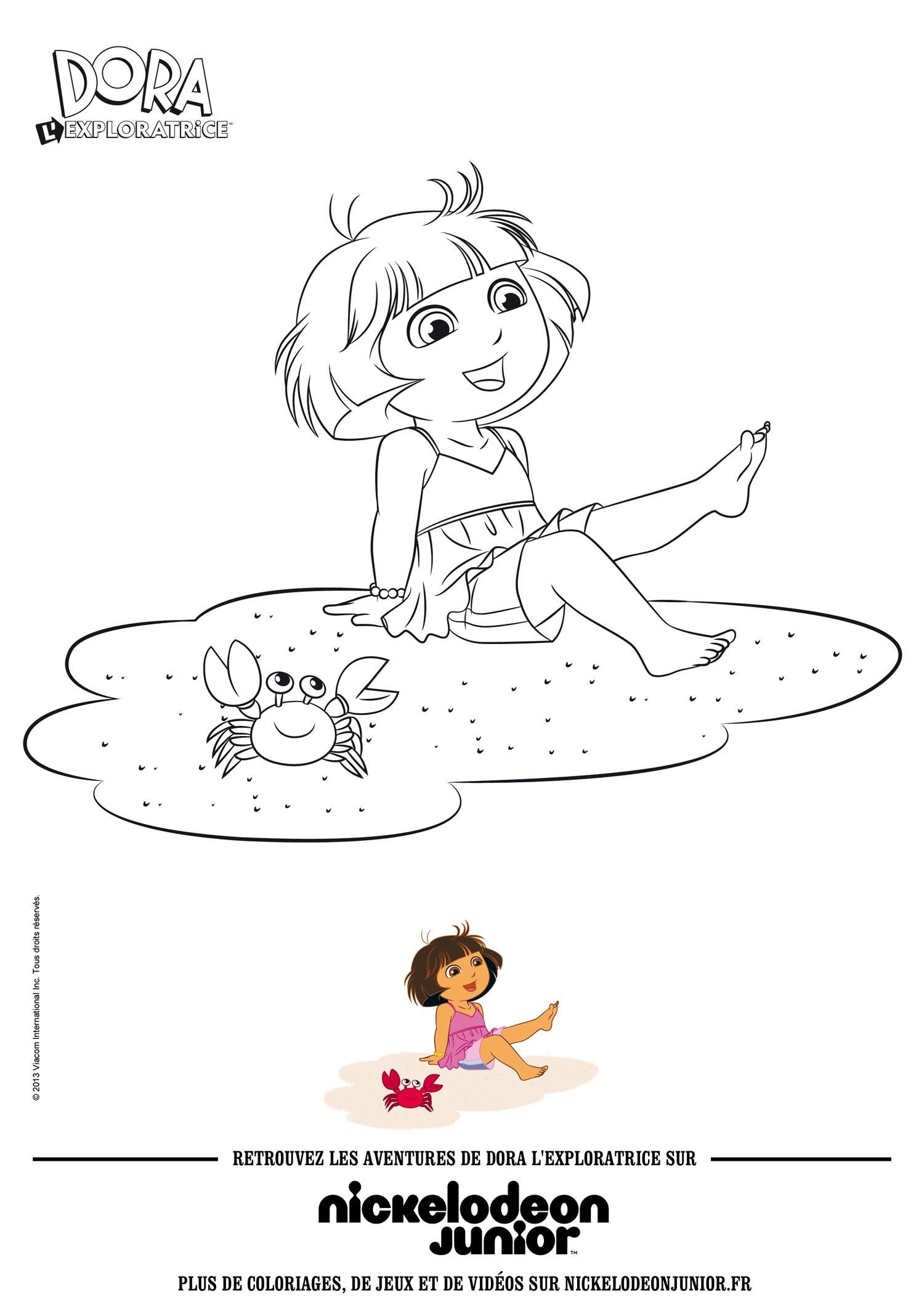 Coloriages dora la plage - Dora a la plage ...