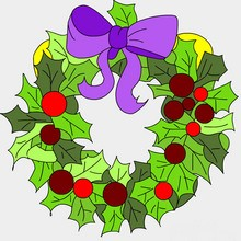 Coloriage de couronnes de no l 11 coloriages de no l for Decoration de noel dessin