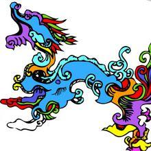 Coloriage : Les dragons du nouvel an chinois