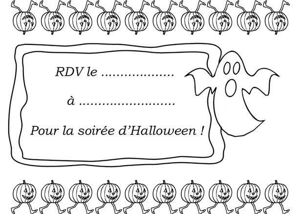 Carte d'invitation Halloween : Fantôme et citrouilles