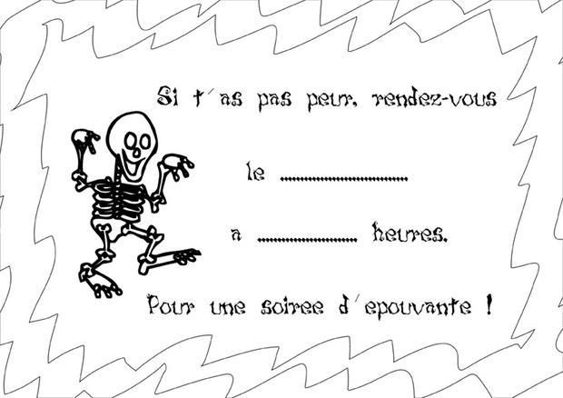 Coloriages squelette - Dessin invitation ...