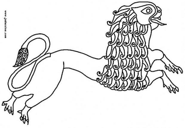 Coloriage d'Halloween : Coloriage d'un lion celte