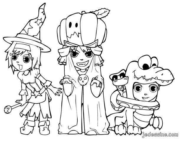Coloriages coloriage du trio d 39 halloween - Coloriages d halloween ...