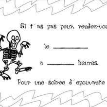 Carte d'invitation Halloween : Coloriage d'un squelette