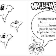 Carte d'invitation Halloween : Coloriage d'une sorcière d'Halloween