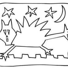 Coloriage d'Halloween : Coloriage d'un chat effrayé
