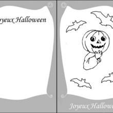 Carte d'invitation Halloween : Citrouille et chauve-souris