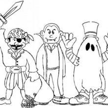 Coloriage d'Halloween : Coloriage de Monstres