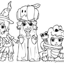 Coloriage d'Halloween : Coloriage du trio d'Halloween