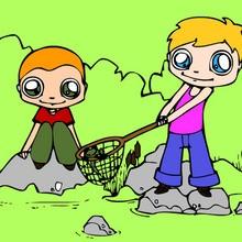 Coloriage de deux petites filles