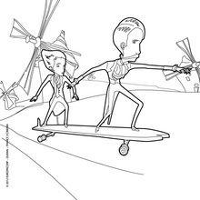 Coloriage : Jack et Méliès sur un skateboard
