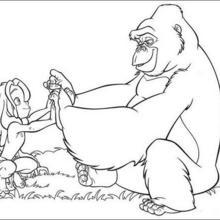 Coloriage Disney : Tarzan et Kala la maman Gorille