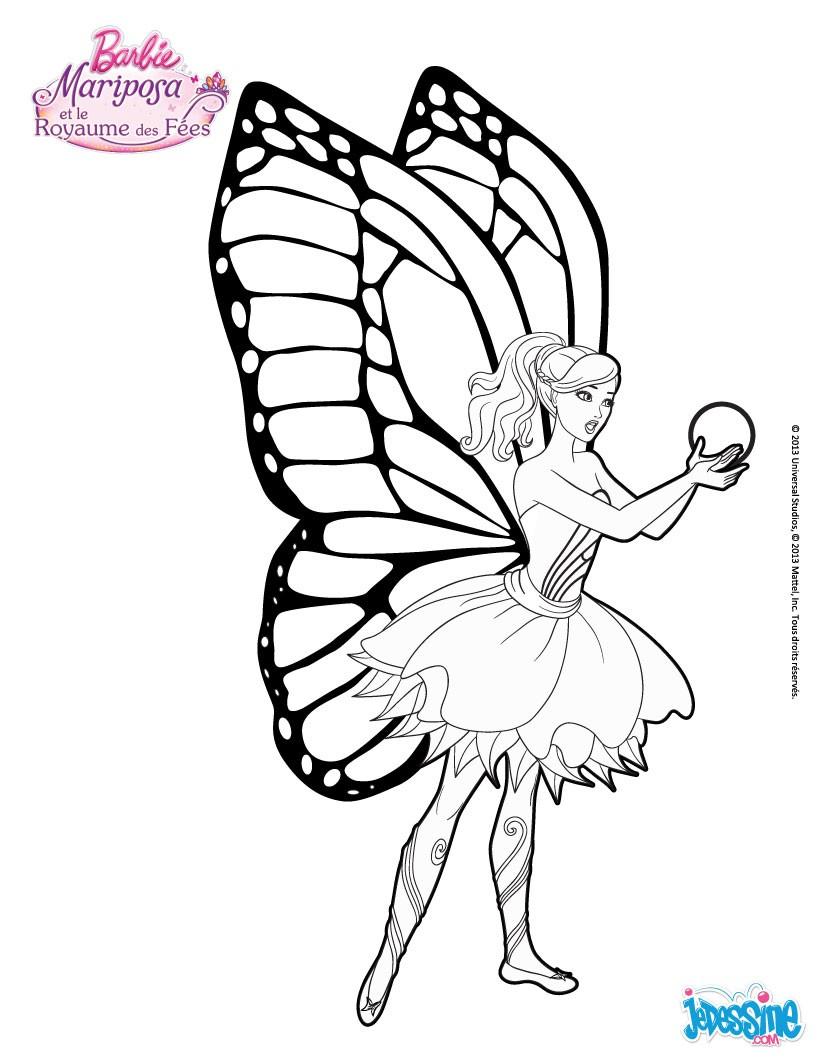 Coloriage Barbie : Mariposa et la Fleur de Flottauvent