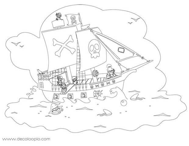 Coloriages coloriage d 39 un bateau pirate - Bateau pirate dessin ...