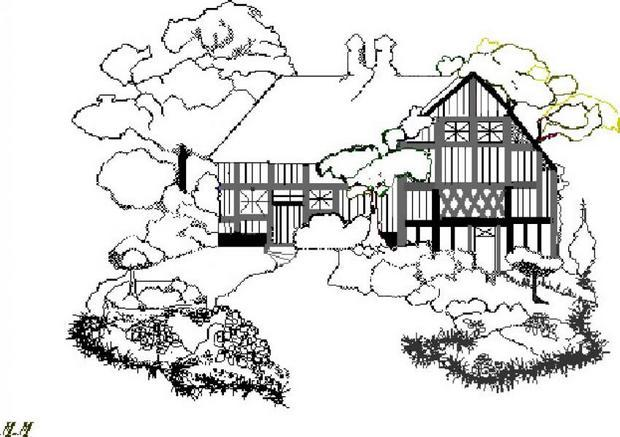 Coloriage : Cottage anglais