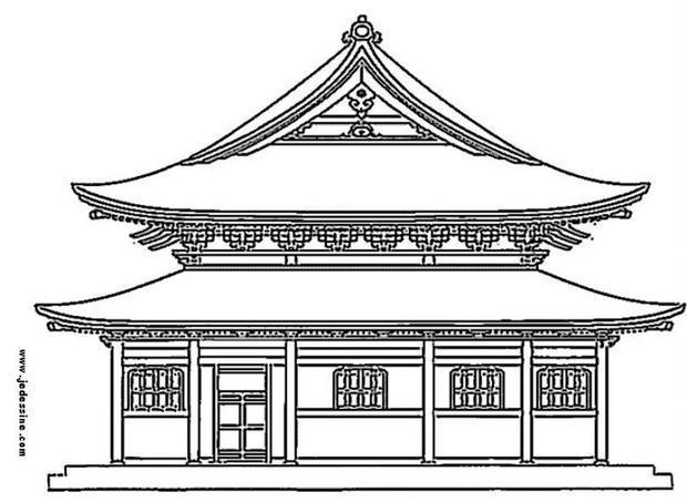 Coloriage : Palais japonais