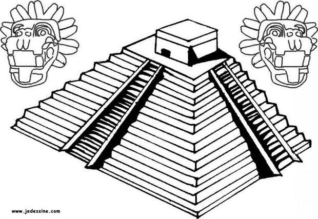 Coloriage d'une pyramide inca