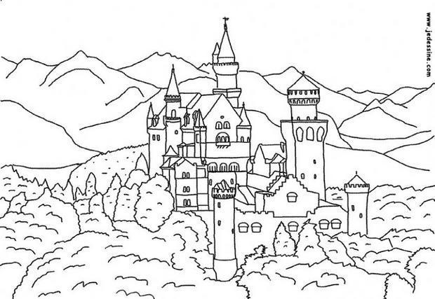 Coloriages ch teau de bavi re - Chateau coloriage ...