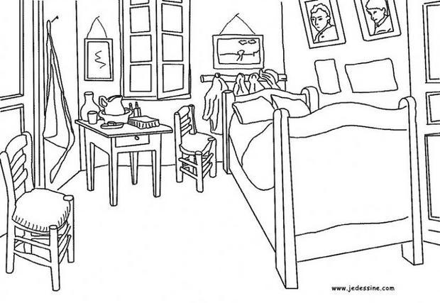 coloriages la chambre de van gogh arles. Black Bedroom Furniture Sets. Home Design Ideas