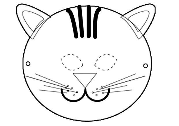 Activit s manuelles masque de chat rigolo - Chat coloriage masque ...