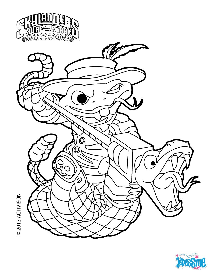 skylanders swap force coloring pages stink bomb - coloriages rattle shake