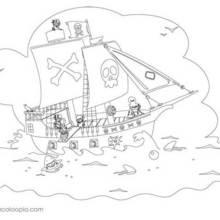 Coloriage d'un bateau pirate