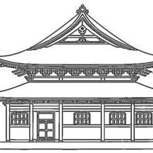 Coloriage d'un palais japonais