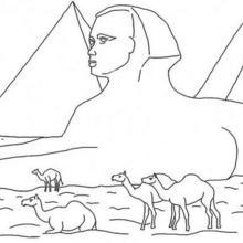 Coloriage : Le sphinx et les pyramides d'Egypte