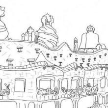 Coloriage : La pedrera de Gaudi à Barcelone