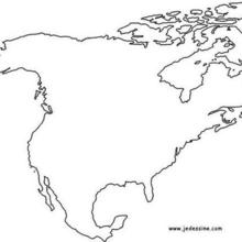 Coloriage : Fond de carte de l'Amerique du Nord