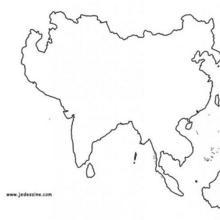 Coloriage : Fond de carte de l'Asie
