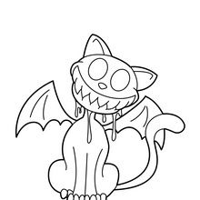 Coloriage d'Halloween : Chat-vampire souriant