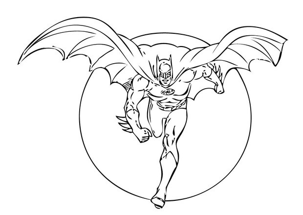 Coloriages batman devant la lune - Coloriage batman ...