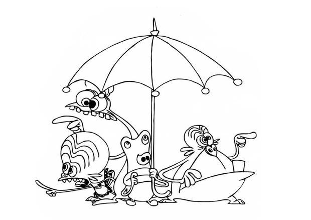 Coloriage des zinzins sous un parapluie