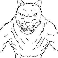 Coloriage d'Halloween : Loup-garou menaçant