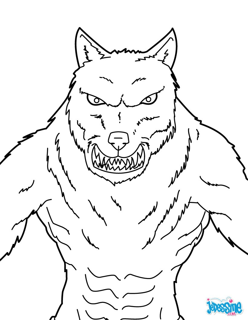Coloriages loup garou mena ant - Tete de loup dessin ...