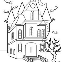 Coloriage d'Halloween : Manoir hanté
