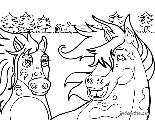 Coloriages couple de chevaux - Coloriage de chevaux en ligne ...