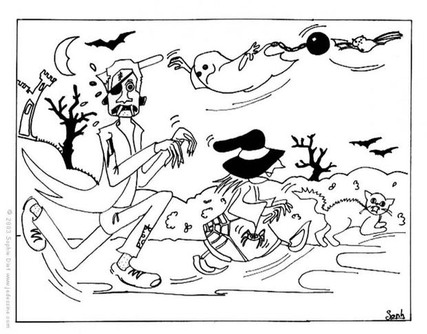 Coloriages la course d 39 halloween - Coloriages d halloween ...