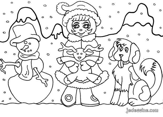 Coloriages coloriage d 39 un enfant sous les flocons de neige - Coloriage d un enfant ...