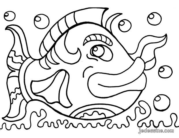 Coloriages coloriage d 39 un gros poisson - Poisson d avril dessin ...