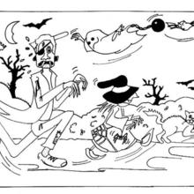 Coloriage d'Halloween : Coloriage d'une course d'Halloween