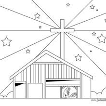 Coloriage de l'étable lieu de naissance de Jésus