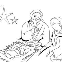 Coloriage de la naissance du Christ