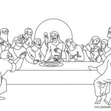 Coloriage du repas de Jésus et ses apôtres