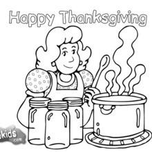 Coloriage : La préparation du repas de Thanksgiving