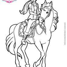 Coloriage Barbie : Barbie sur son cheval